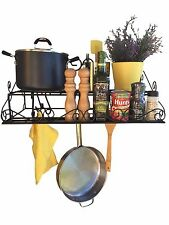 "Alilaw 23.5"" steel 2 tier wall pot rack +10 large hooks,black,utensil pan holder"