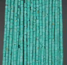 3MM TURQUOISE GEMSTONE GREEN BLUE ROUND TUBE HEISHI LOOSE BEADS 12.5""