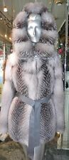 GORGEOUS SHADOW BLUE FROST  Fox Fur Coat Hood Leather Belt  NEW FUR FASHION