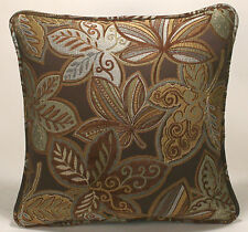 "2 18"" Brown Seafoam Green Gold and Blue Leaf Pattern Designer Throw Pillows"