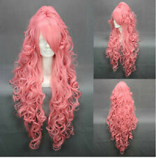 Long Fashion Party Women Girl Cosplay Vocaloid Luka Pink Hair Curly Wigs