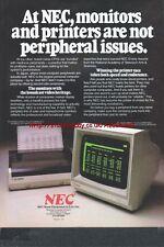 NEC Monitors Printers Hardware 1985 Vintage Magazine Advert #5319