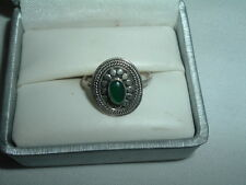 Vintage Sterling Silver Jade Southwest Ring Sz 7 in Ring Box