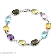 14K White Gold Bracelet With Multi-Colored Cushion Cut Gemstones 7 1/2""
