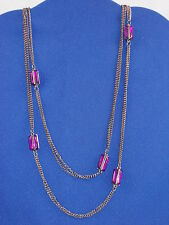 Guess Hematite-tone Purple Putting On The Glitz Long Double Chain Necklace