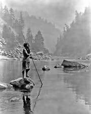 NATIVE AMERICAN HUPA MAN WITH SPEAR 8X10 PHOTO CURTIS