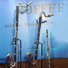 Roffee Clarinet Composite wood body Silver plated Key Low C Bass clarinet