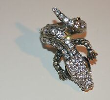 Clear Crystal Alligator Crocodile Finger Coiled Ring Elastic