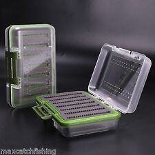 Double Clear Lid Waterproof Fly Fishing Box With Swing Leaf Slit Foam Insert