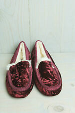 UGG ANSLEY BURGUNDY WINE CRUSHED RED VELVET MOCCASIN SLIPPERS US 10 EU 41 NIB