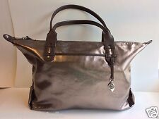 "New STELLA & DOT Pewter Metallic ""HOW DOES SHE DO IT?"" Tote Handbag Satchel"