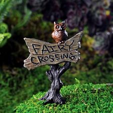 Mini Sign pick w/ Owl  Fairy Crossing Miniature Fairy Faerie Gnome Garden 17232