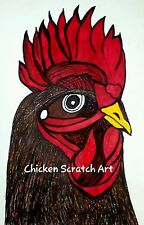 Sale reduced Red Rooster Rules Chicken Scratch Art Chicken Original Art