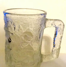 MC DONALD'S 1995 BATMAN FOREVER ROBIN MUG CLEAR GLASS EMBOSSED