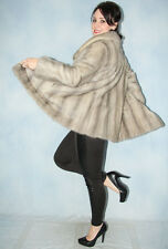 1804 AMAZING REAL SILVER BLUE MINK COAT FUR SWINGER НОРКА BEAUTIFUL LOOK SIZE L