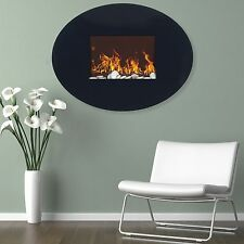 Wall Mounted Oval Shaped Electric LED Light Fireplace with Remote