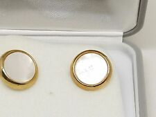 Gold Tone Foster Vintage Mother of Pearl Cufflinks Cuff Links