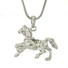 "w Swarovski Crystal Horse Mustang Rodeo Cowboy Cowgirl 18"" Chain Necklace Gift"
