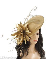 Gold Fascinator Hat for weddings/ascot/proms