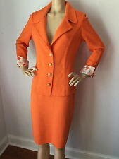 NEW ST JOHN KNIT SZ 4 SKIRT SUIT JACKET TOP SANTANA KNIT ORANGE WOOL RAYON