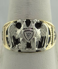 MENS 10K YELLOW GOLD MASONIC DOUBLE HEADED EAGLE DIAMOND RING 32 DEGREE