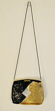 RARE✔ VTG S Gold Silver Black Mesh Evening Hand Bag Purse