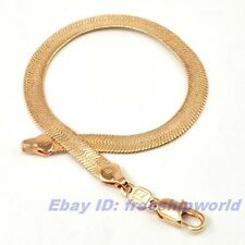 "3pcs Wholesale REAL TOP 9""5mm9g 18K ROSE GOLD GP SNAKE BRACELET SOLID FILL CHAIN"