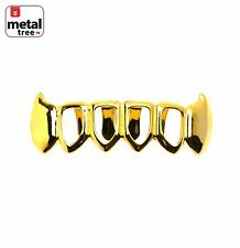 Grillz Solid Fang Four Open Face 14K Gold Plated Teeth Bottom S020 4F G