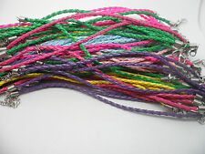"10 Imitation Faux Leather Bracelet Cords,8"" (20cm) Mixed Colours.Craft Hobby"