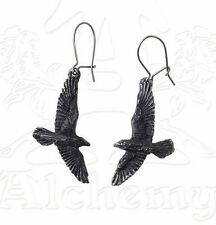 Odin Black Raven Gothic Earrings Pair Flying Ravens Crows on Hooks E333 Alchemy