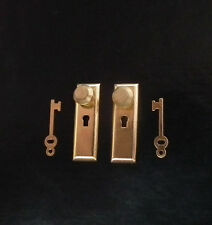 1/12, Dolls House Miniature Brass Handles & keys Set Door Knobs Fittings  LGW