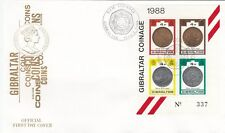 GIBRALTAR:1989 New Coinage   Min Sheets(2)   on illustrated FDCs
