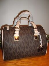 MICHAEL KORS MK GRAYSON MEDIUM SATCHEL BROWN PVC SIGNATURE BAG TOTE NEW