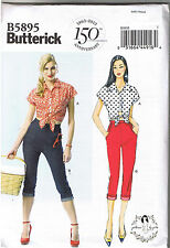 Vtg 50s Retro Tie Top Capri Pants Butterick Sewing Pattern Gertie Sz 4 6 8 10 12