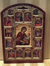 Small Orthodox Greek Russian Byzantine Icon Theotokos Christ 12 Feasts Virgin