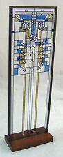 Frank Lloyd Wright Stained Glass Panel Window Waterlilies Design Wood Stand