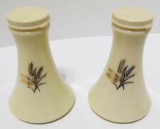 Vintage Cream Porcelain Gold Wheat Salt and Pepper Shakers Plastic Top