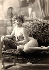 "1800's Sitting nude photo of beautiful woman, vintage erotic Art decor 20""x14"""