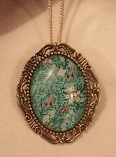 Lovely Etch Swirl Goldtn Teal Blue White Peach Flower Spray Cameo Pendant Brooch