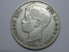 1901 * 19 -01 ALFONSO XIII , 1 UNA PESETA SPANISH SPAIN COIN SILVER