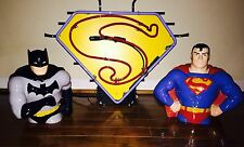 SUPERMAN PROMOTION NEON  DISPLAY SIGN + SUPERMAN & BATMAN COOKIE COLLECTOR JARS