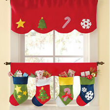 2pcs/set Christmas Curtain Home Party Window Decor Pennant Bunting