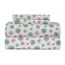 PointeHaven Living Flan-QUN-SF-White Snow Flakes Flannel 100% Cotton Sheet Set