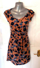 ❤ WAREHOUSE Gorgeous Ladies Size 6 Dusky Pink Blue Floral Dress Drawstring
