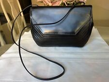 Vintage Authentic CHARLES JOURDAN Black Leather Crossbody / Shoulder Bag -France