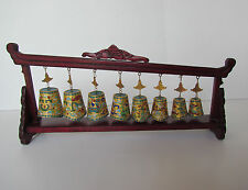 China Cloisonne Bird/Animal Design Set Of Bainzhong Bells/Chimes With Stand Nice