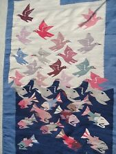 Vintage Native American Textile Tapestry Southwestern Colorful Fish with Birds