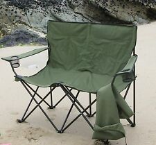 DOUBLE FOLDING CAMPING CHAIR - BIG - STRONG - GREEN - FREE DELIVERY