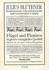Leipzig Julius Blüthner Flügel und Pianinos Historische Kunst- Annonce von 1909