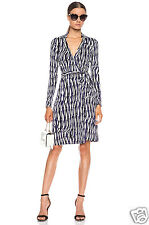 Diane von Furstenberg NEW JEANNE TWO Wrap Silk Dress in GLASS WEAVE PURPLE s. 12